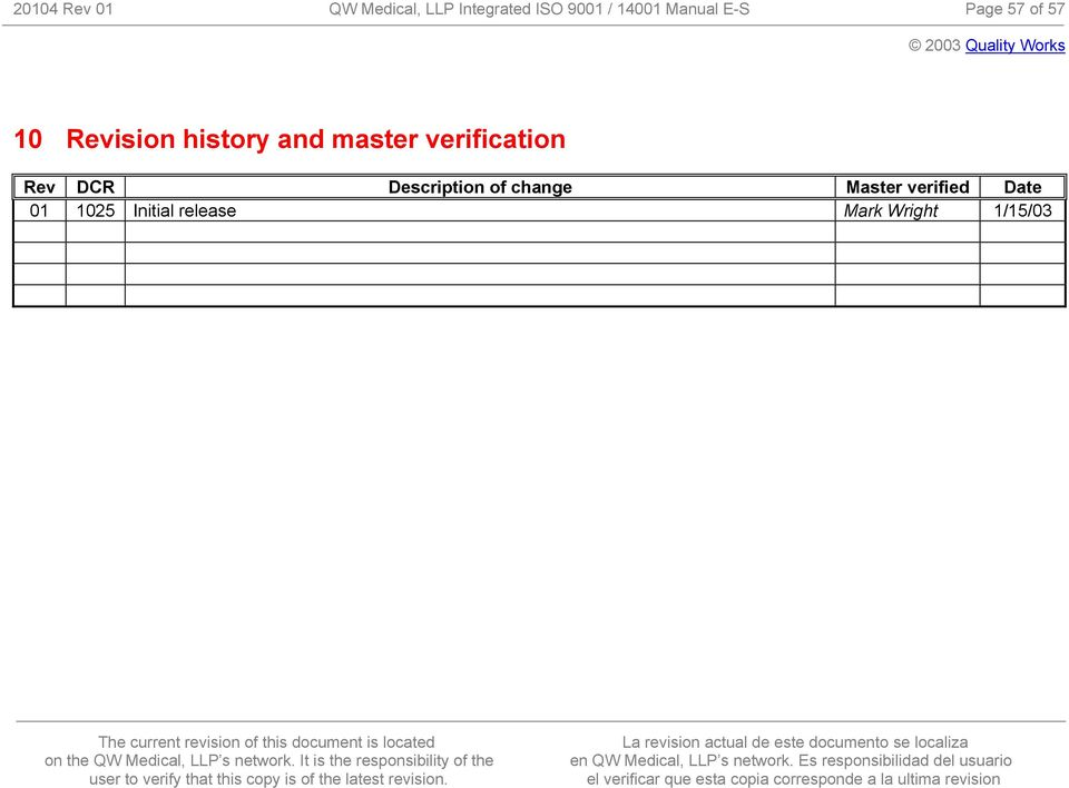 master verification Rev DCR Description of change