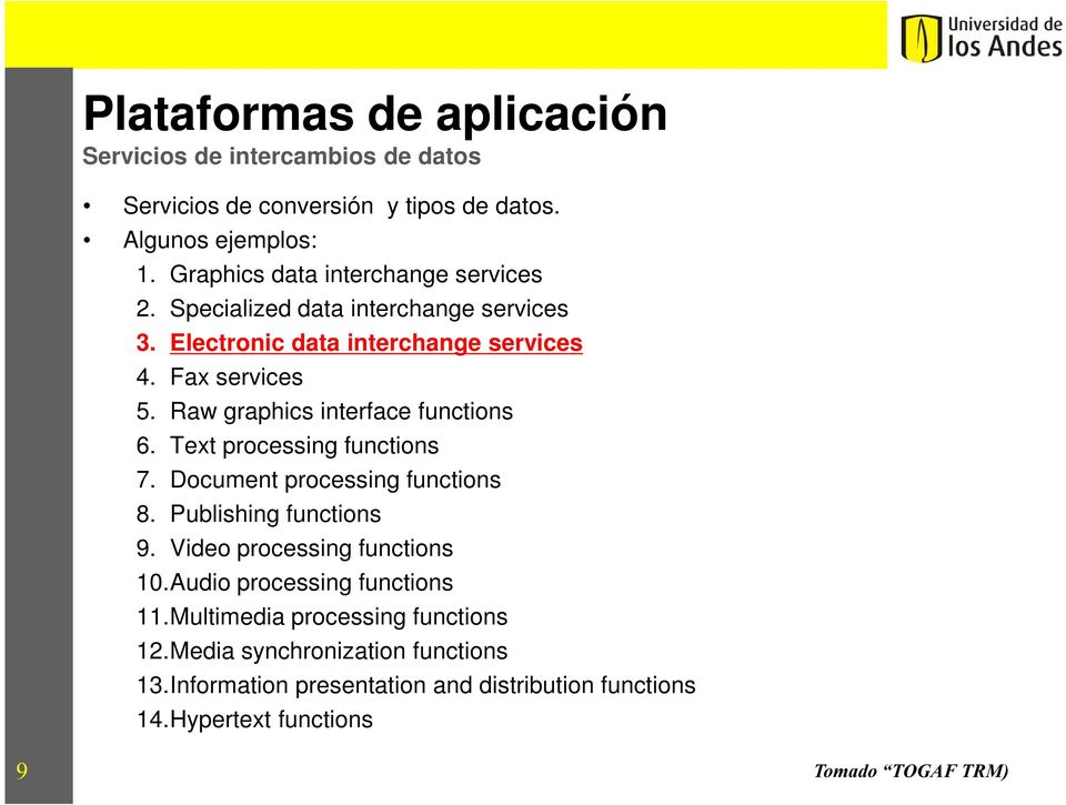 Text processing functions 7. Document processing functions 8. Publising functions 9. Video processing functions 10.