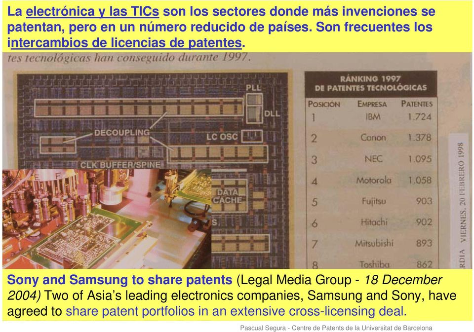 Sony and Samsung to share patents (Legal Media Group - 18 December 2004) Two of Asia s leading