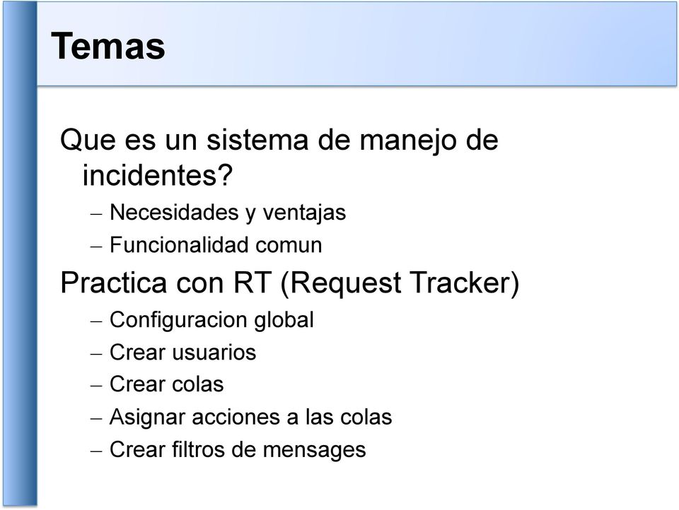 RT (Request Tracker) Configuracion global Crear usuarios