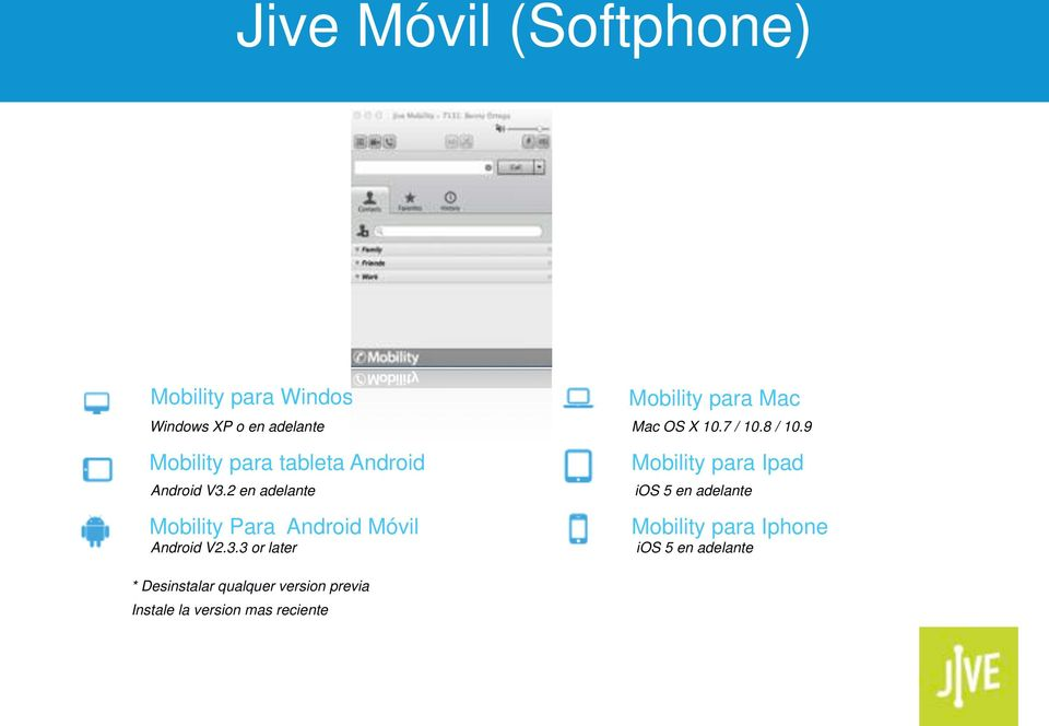 2 en adelante Mobility Para Android Móvil Android V2.3.