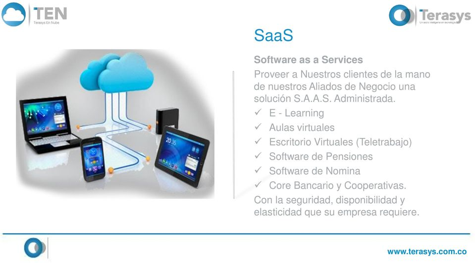 E - Learning Aulas virtuales Escritorio Virtuales (Teletrabajo) Software de