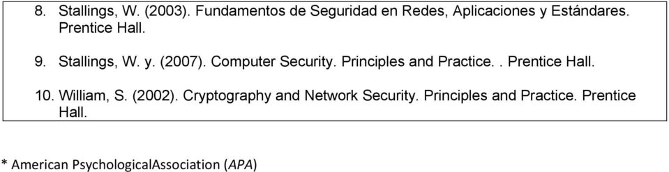 Stallings, W. y. (2007). Computer Security. Principles and Practice.. Prentice Hall.