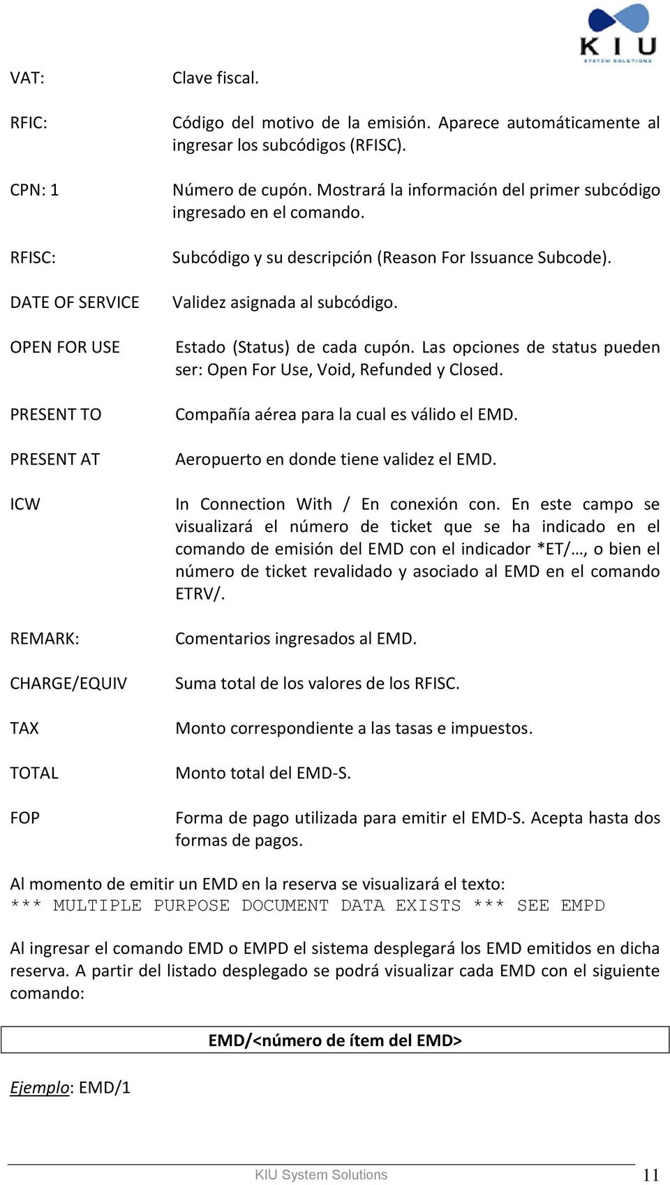 Subcódigo y su descripción (Reason For Issuance Subcode). Validez asignada al subcódigo. Estado (Status) de cada cupón. Las opciones de status pueden ser: Open For Use, Void, Refunded y Closed.