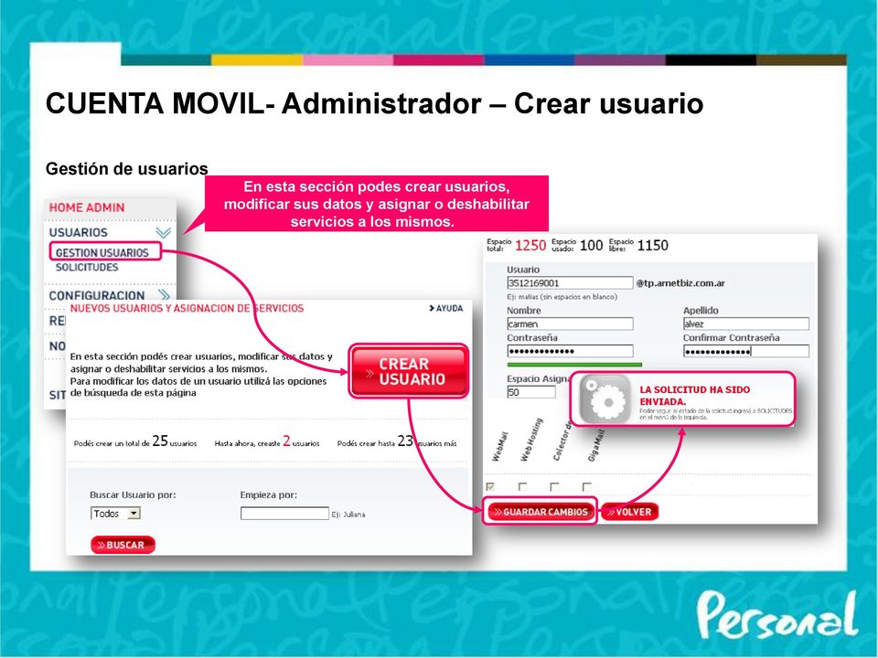 crear usuarios, modificar sus datos y