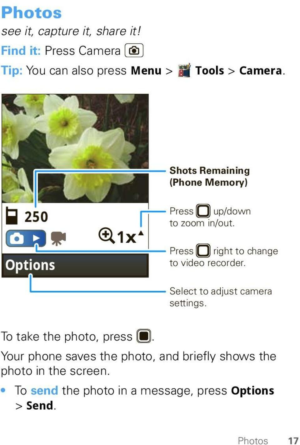 Press right to change to video recorder. Select to adjust camera settings. To take the photo, press.