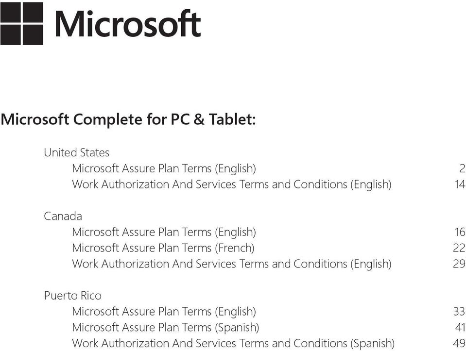 Terms (French) 22 Work Authorization And Services Terms and Conditions (English) 29 Puerto Rico Microsoft Assure Plan
