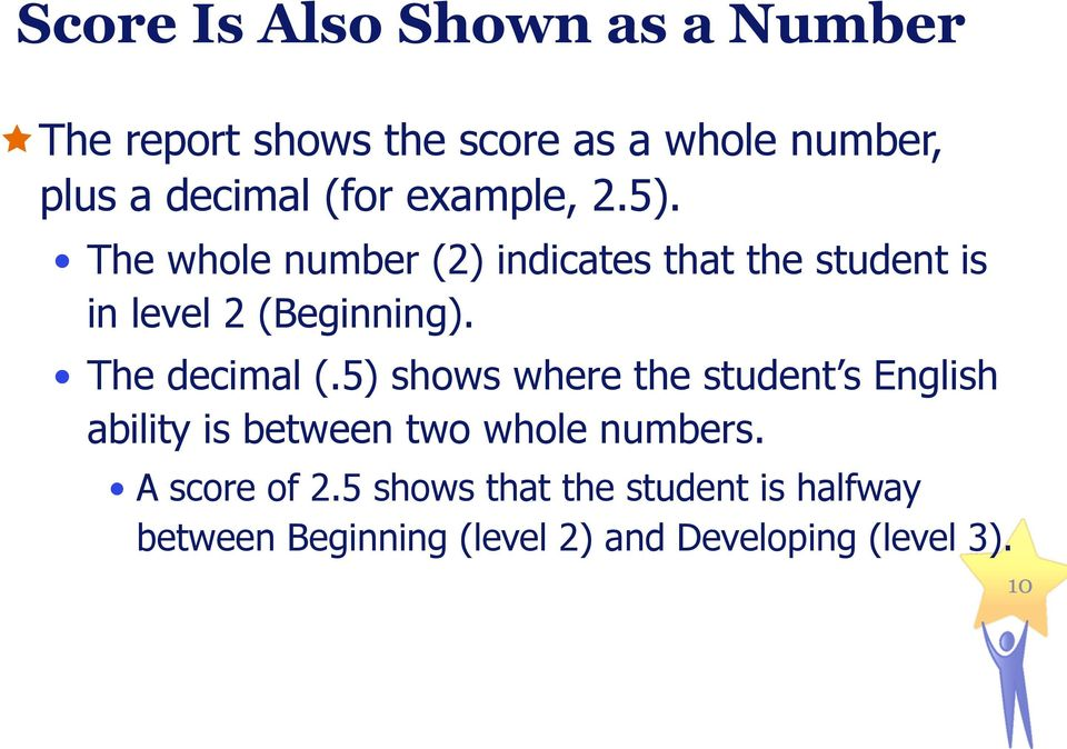 The decimal (.5) shows where the student s English ability is between two whole numbers.