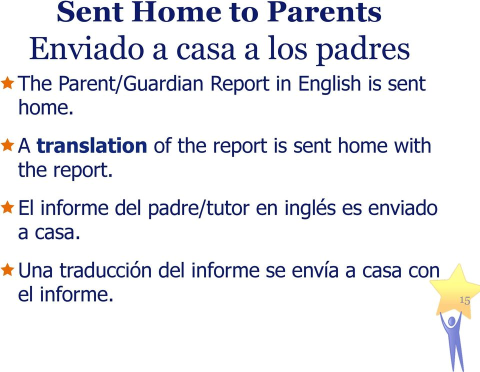 ê A translation of the report is sent home with the report.
