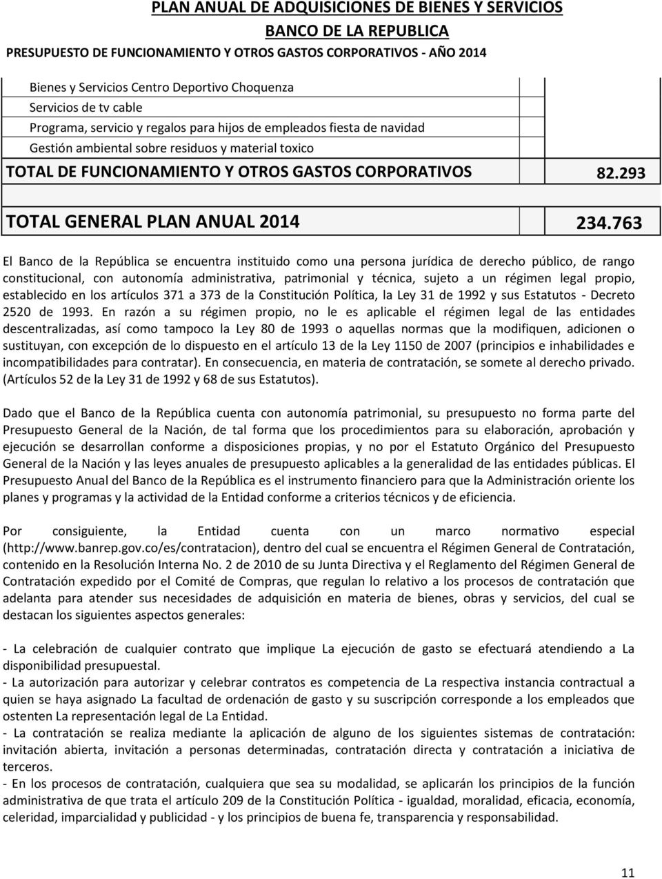 293 TOTAL GENERAL PLAN ANUAL 2014 234.