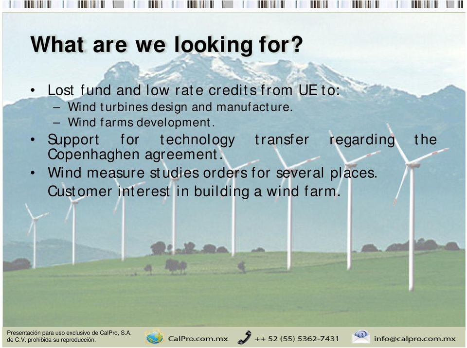 manufacture. Wind farms development.