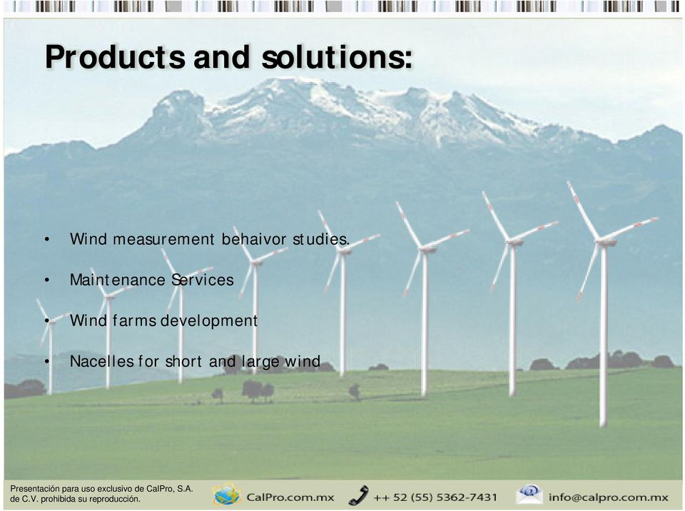 Maintenance Services Wind farms