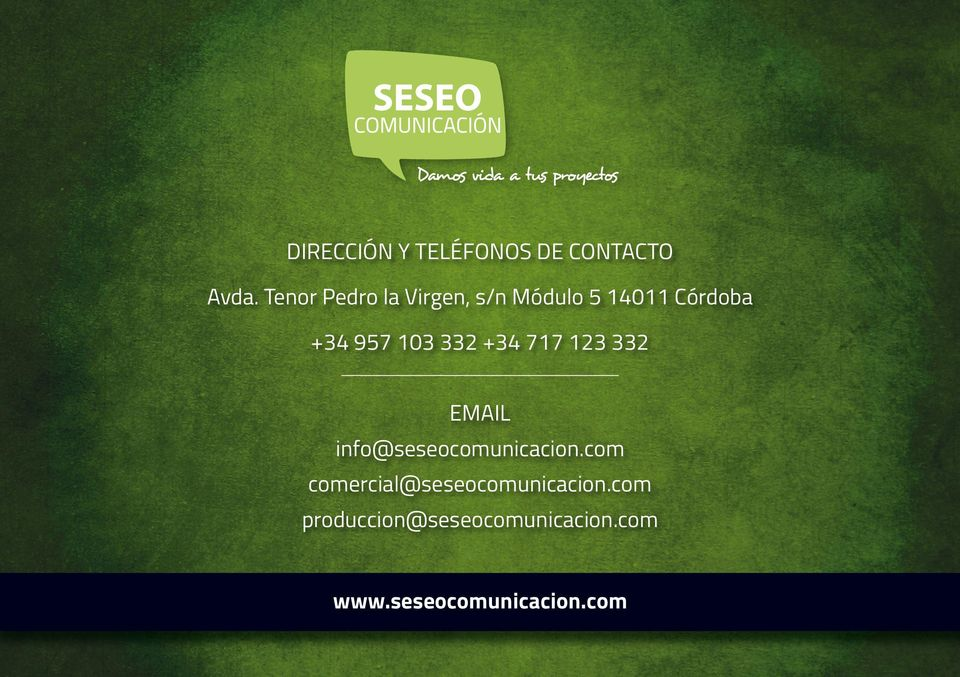332 +34 717 123 332 EMAIL info@seseocomunicacion.