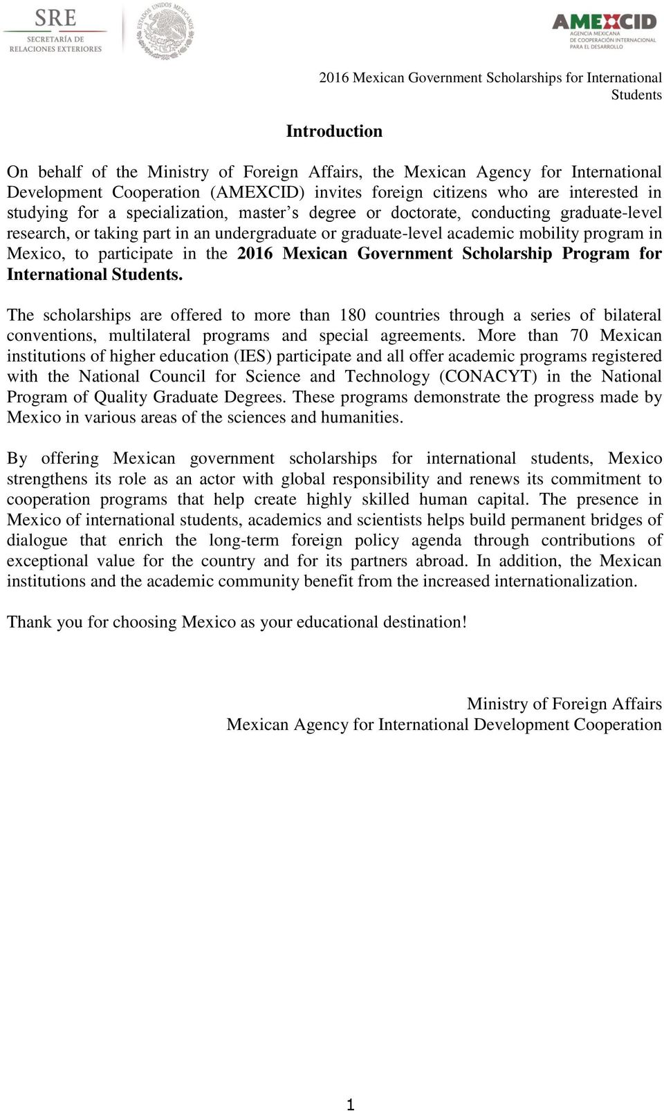 Mexican Government Scholarship Program for International.