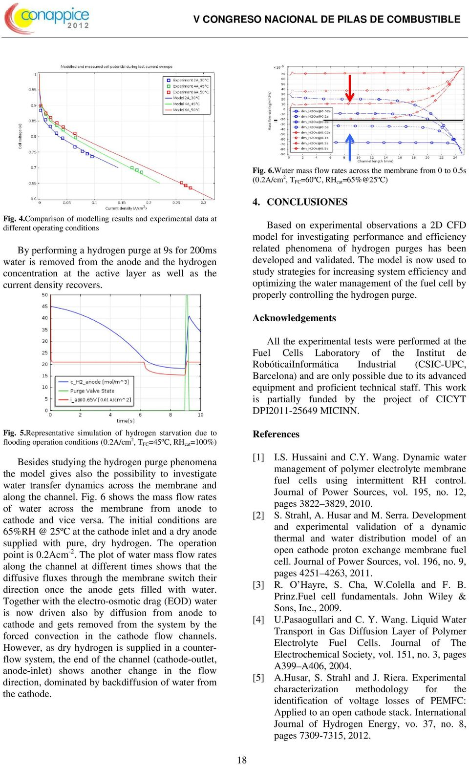 Comparison of modelling results and experimental data at different operating conditions By performing a hydrogen purge at 9s for 200ms water is removed from the anode and the hydrogen concentration