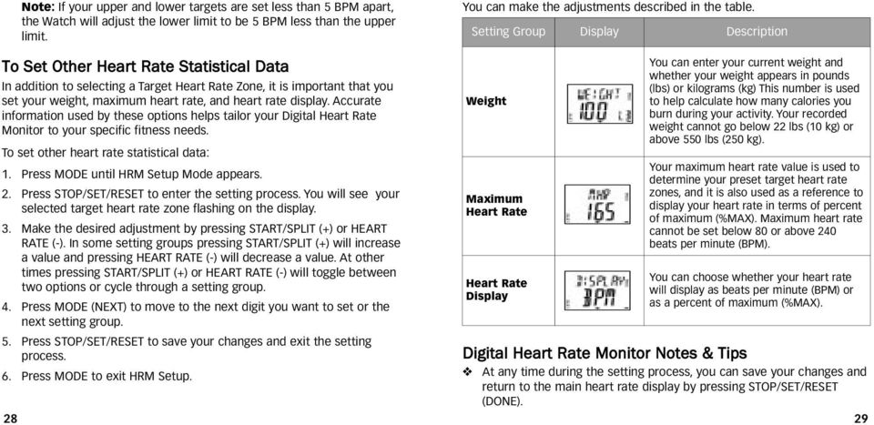 rate display. Accurate information used by these options helps tailor your Digital Heart Rate Monitor to your specific fitness needs. To set other heart rate statistical data: 1.