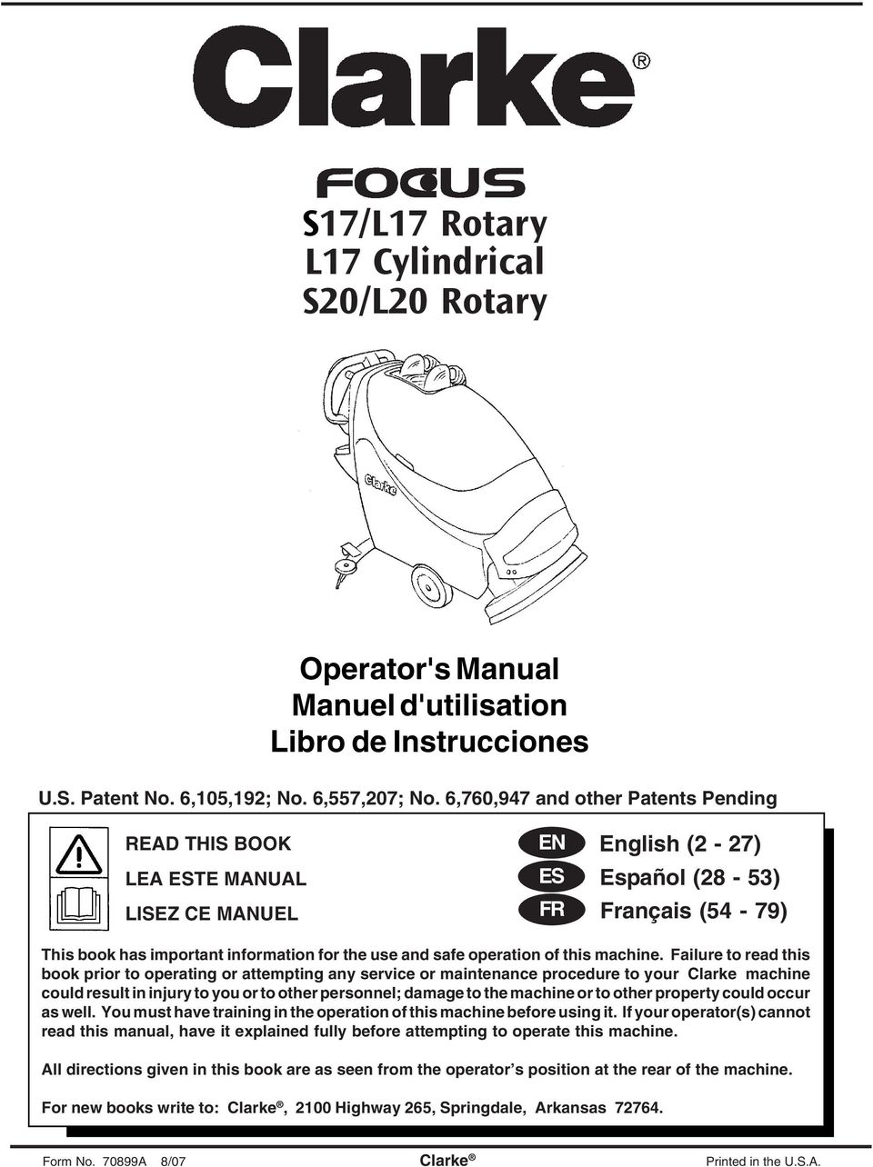operation of this machine.