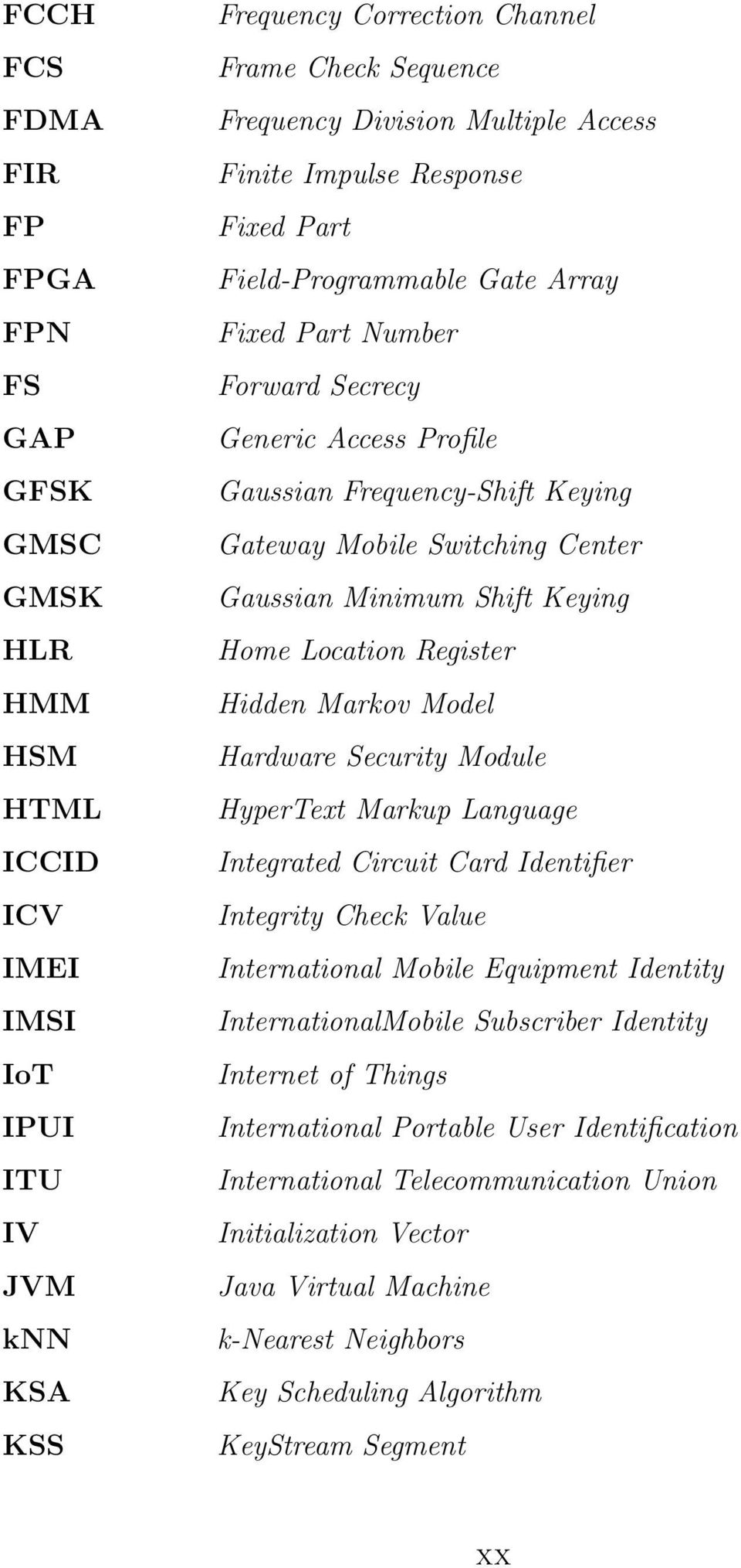 Gaussian Minimum Shift Keying Home Location Register Hidden Markov Model Hardware Security Module HyperText Markup Language Integrated Circuit Card Identifier Integrity Check Value International
