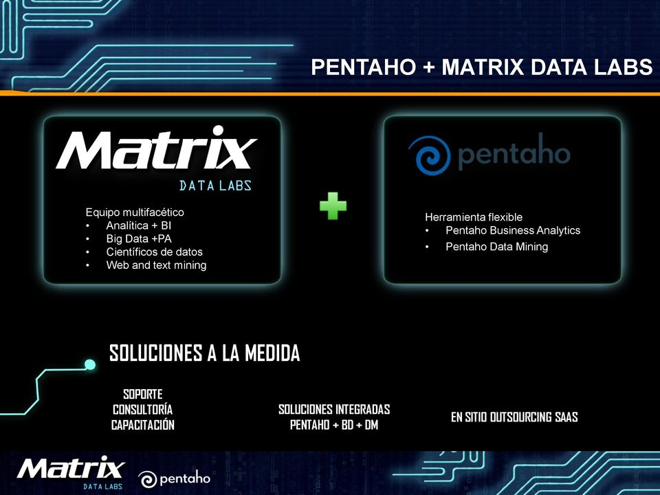 Business Analytics Pentaho Data Mining SOLUCIONES A LA MEDIDA SOPORTE