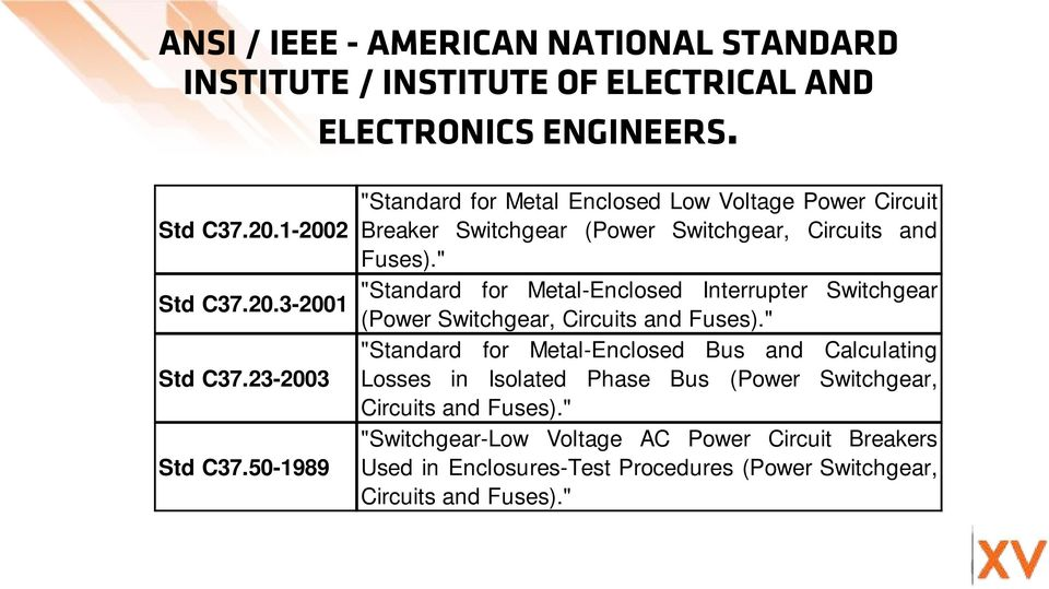 """ ""Standard for Metal-Enclosed Interrupter Switchgear (Power Switchgear, Circuits and Fuses)."