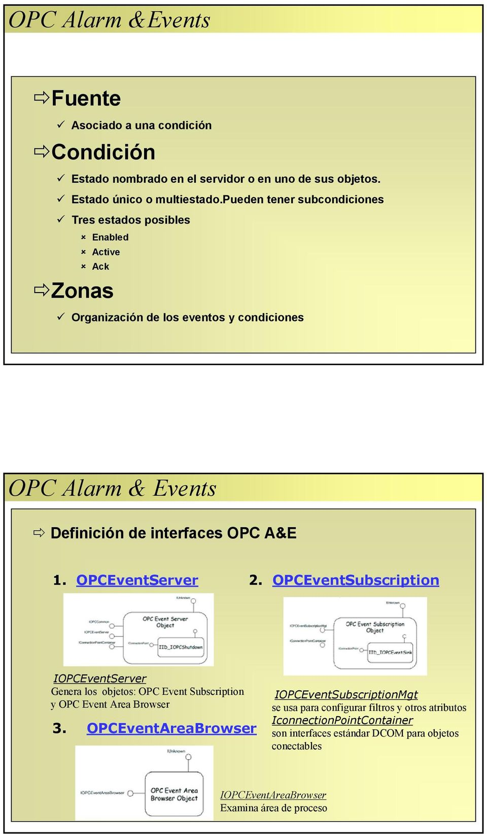 A&E 1. OPCEventServer 2. OPCEventSubscription IOPCEventServer Genera los objetos: OPC Event Subscription y OPC Event Area Browser 3.