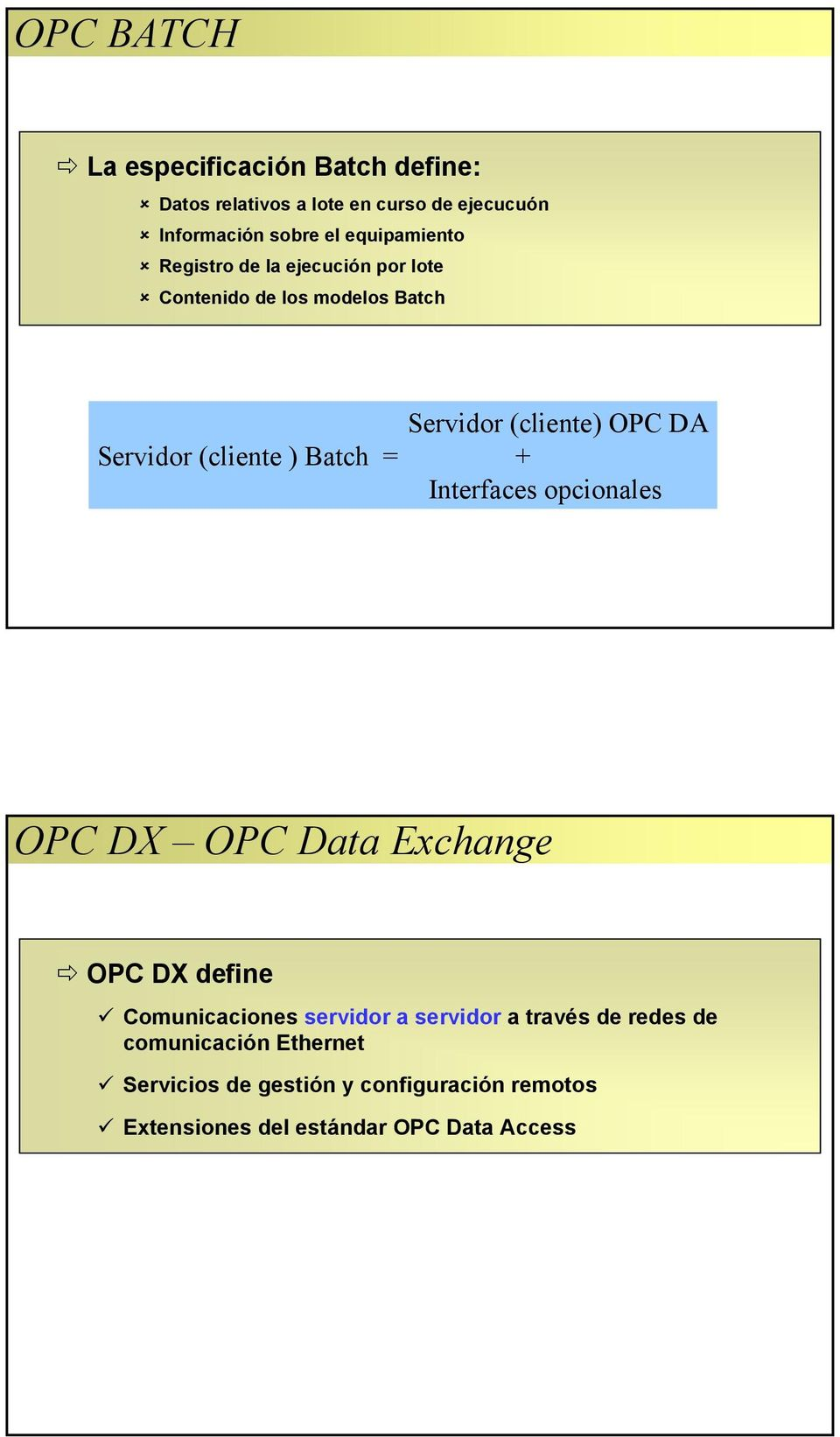 (cliente ) Batch = + Interfaces opcionales OPC DX OPC Data Exchange OPC DX define Comunicaciones servidor a servidor