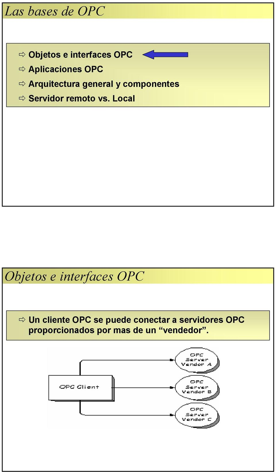 Local Objetos e interfaces OPC Un cliente OPC se puede