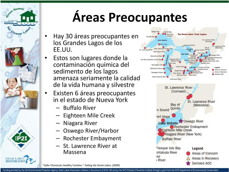 vida humana y silvestre Existen 6 áreas preocupantes in el estado de Nueva York Buffalo River Eighteen Mile Creek