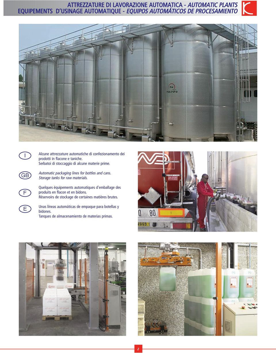 Automatic packaging lines for bottles and cans. Storage tanks for raw materials.