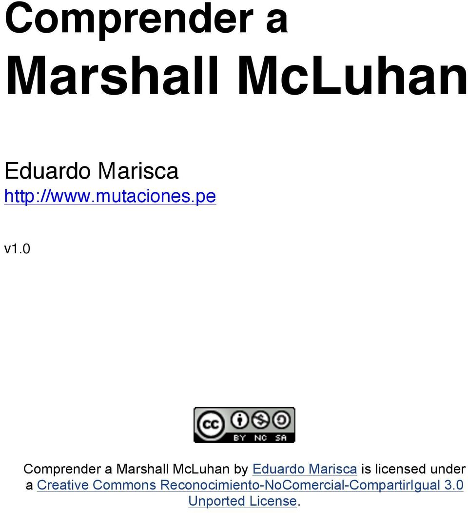 0 Comprender a Marshall McLuhan by Eduardo Marisca is