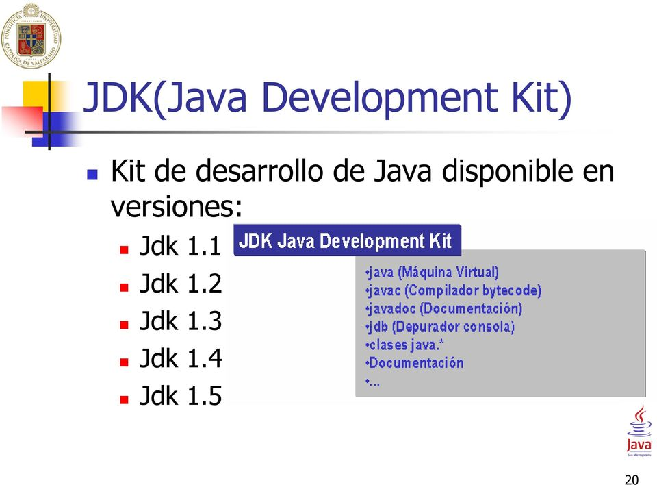 disponible en versiones: Jdk