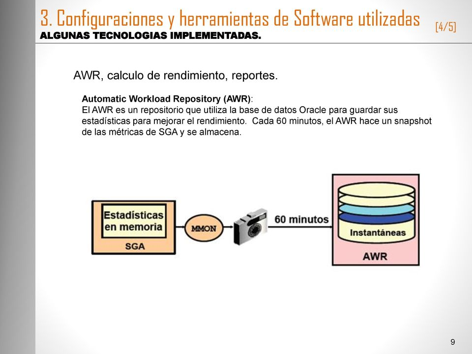 Automatic Workload Repository (AWR): El AWR es un repositorio que utiliza la base de datos