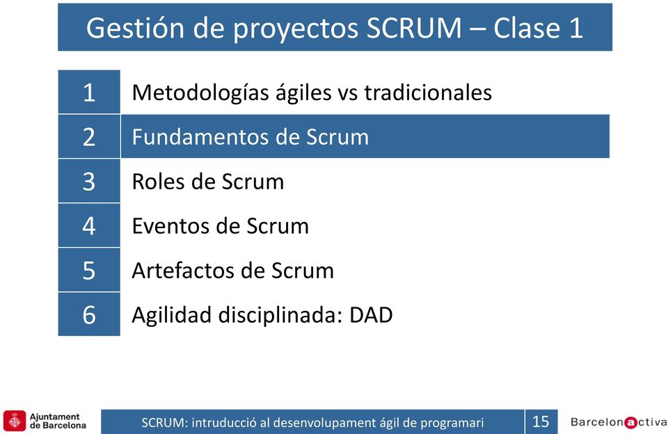 Fundamentos de Scrum 3 Roles de Scrum 4 Eventos