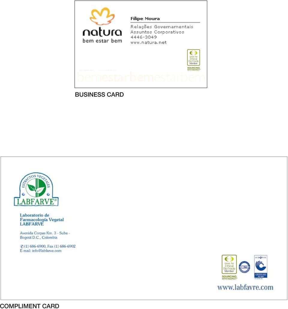 BioTrade Member SOURCING WITH RESPECT COMPLIMENT CARD