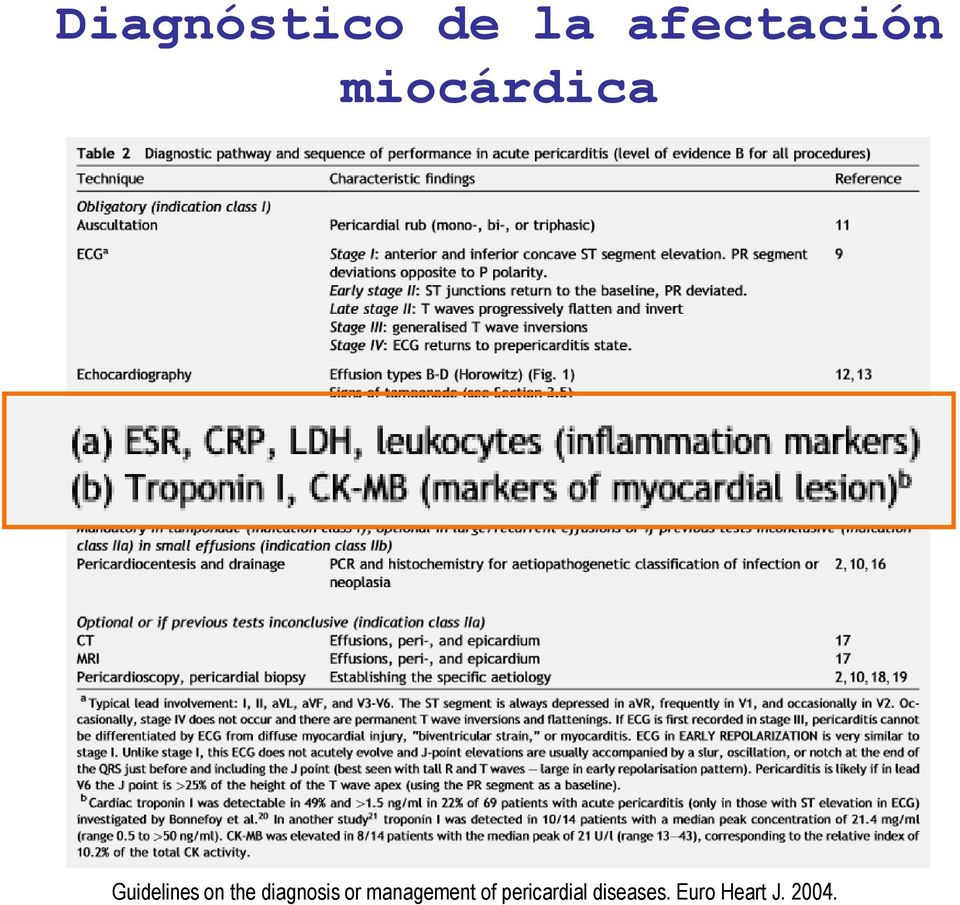 diagnosis or management of
