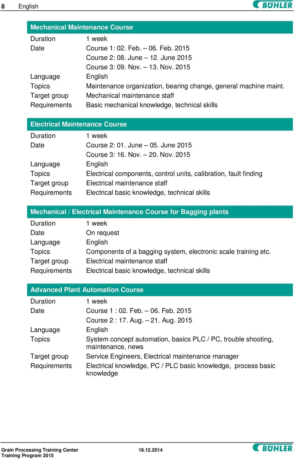 Target group Mechanical maintenance staff Requirements Basic mechanical knowledge, technical skills Electrical Maintenance Course Date Course 2: 01. June 05. June 2015 Course 3: 16. Nov.