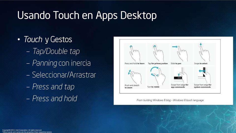 Usando Touch en Apps Desktop Touch y Gestos