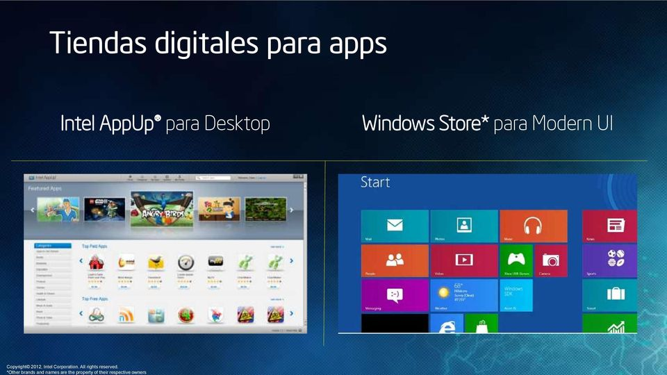 Tiendas digitales para apps Intel
