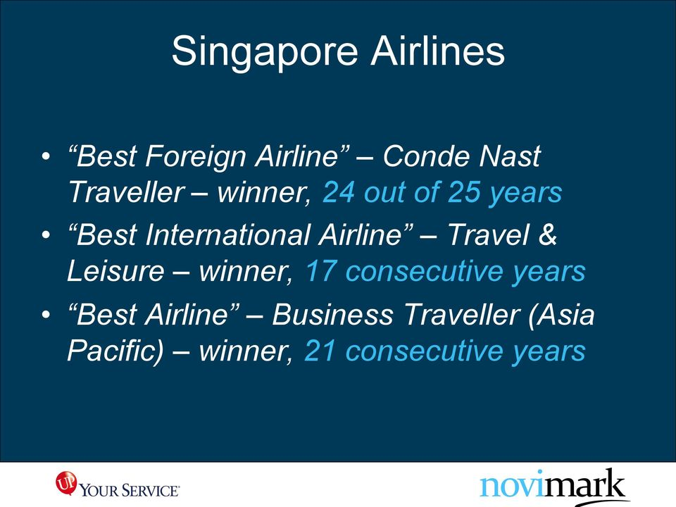 Airline Travel & Leisure winner, 17 consecutive years Best