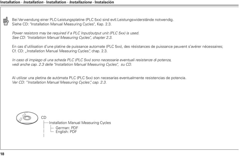 "CD: Installation Manual Measuring Cycles, chap. 2.3. In caso di impiego di una scheda PLC (PLC 5xx) sono necessarie eventuali resistenze di potenza, vedi anche cap. 2.3 delle ""Installation Manual Measuring Cycles"", su CD."