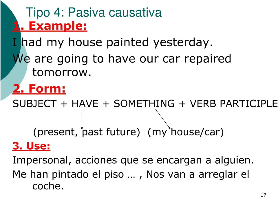 Form: SUBJECT + HAVE + SOMETHING + VERB PARTICIPLE 3.