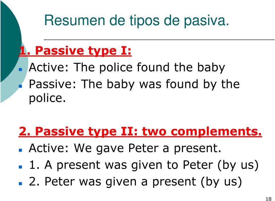 was found by the police. 2. Passive type II: two complements.