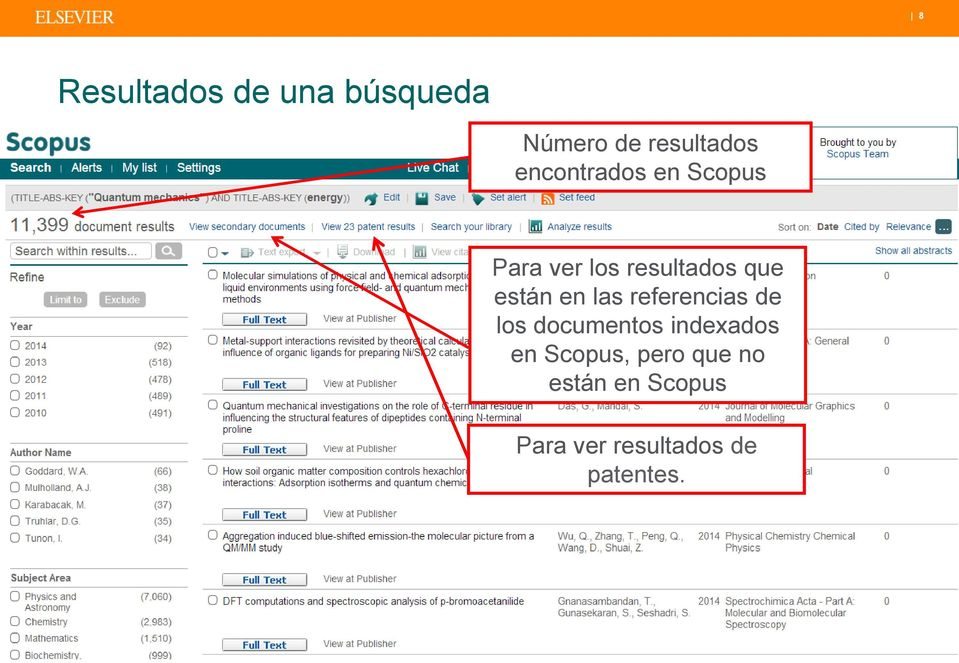 que están en las referencias de los documentos indexados en