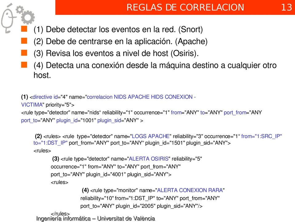 "(1) <directive id=""4"" name=""correlacion NIDS APACHE HIDS CONEXION VICTIMA"" priority=""5""> <rule type=""detector"" name=""nids reliability=""1"" occurrence=""1"" from=""any"" to=""any"" port_from=""any"