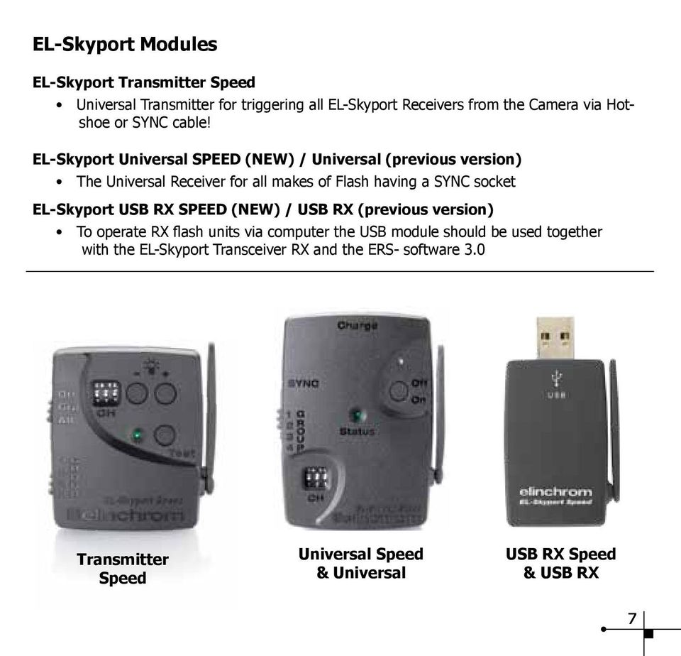 EL-Skyport Universal SPEED (NEW) / Universal (previous version) The Universal Receiver for all makes of Flash having a SYNC socket