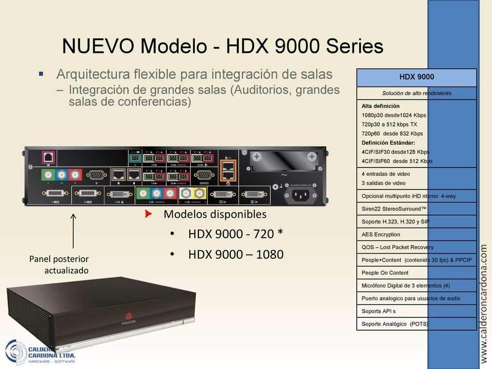 disponibles HDX 9000-720 * HDX 9000 1080 4 entradas de video 3 salidas de video Opcional multipunto ihd nterno 4-way Siren22 StereoSurround Soporte H.323, H.