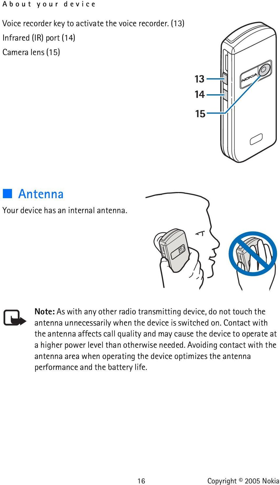Note: As with any other radio transmitting device, do not touch the antenna unnecessarily when the device is switched on.