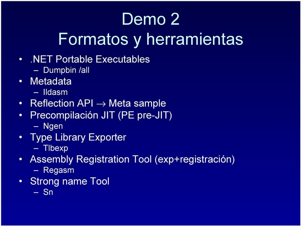 Reflection API Meta sample Precompilación JIT (PE pre-jit)