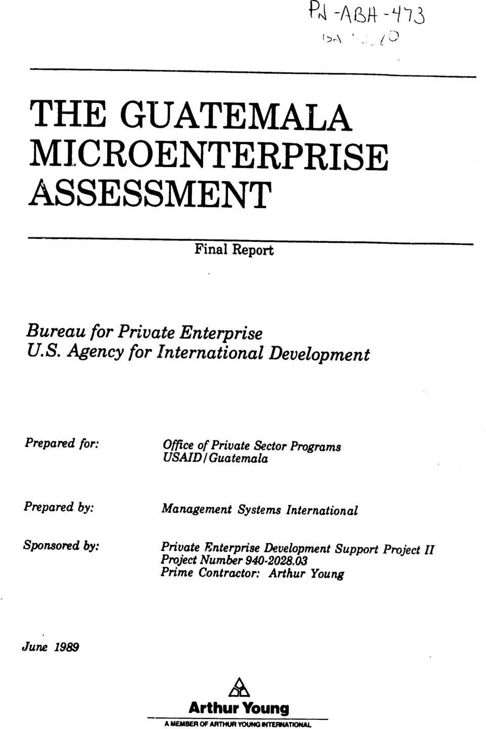 Preparedfor: Office of PrivateSector Programs USAID I Guatemala Preparedby: Management Systems