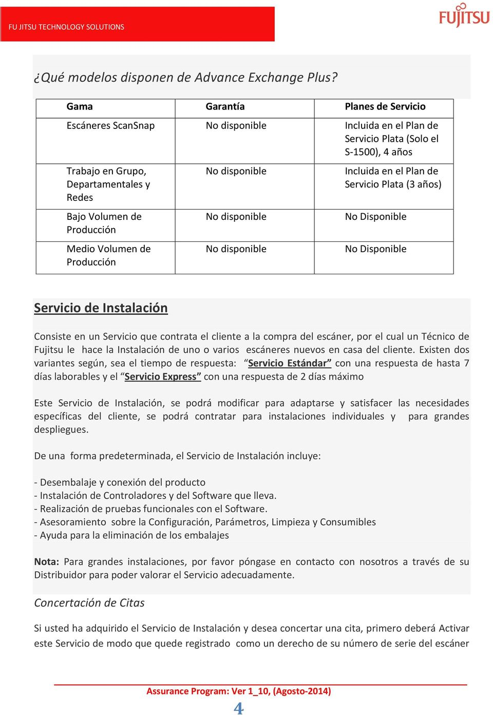 Medio Volumen de Producción No disponible No disponible No disponible Incluida en el Plan de Servicio Plata (3 años) No Disponible No Disponible Servicio de Instalación Consiste en un Servicio que